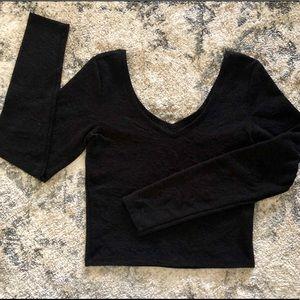 Bethany Mota Long Sleeve Black Crop Top